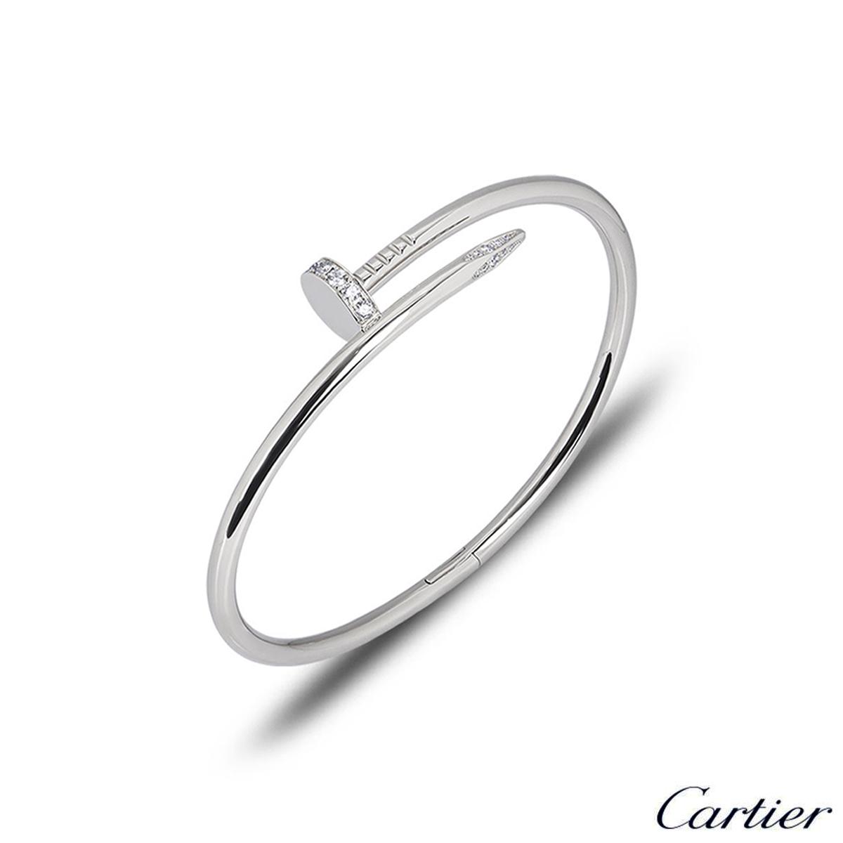 Cartier White Gold Diamond Juste Un Clou Bracelet Size 17 B6048717